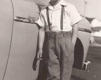 Mike at 5 Years Old, Small Photograph of a Dapper Young Man, Suspenders, Vintage Photograph, Black and White Photo, Boy, Vintage Car