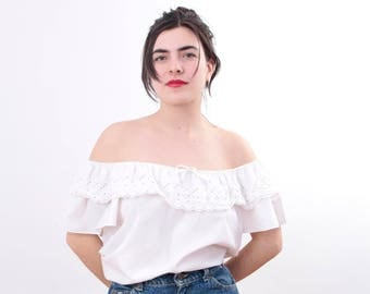 80s Off The Shoulder Blouse In White Size Large/Extra Large