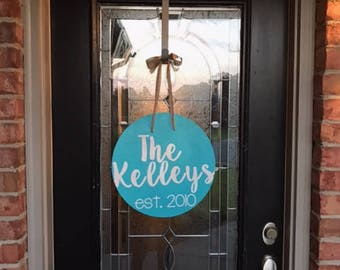 Personalized hand-painted door hanger decor