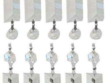 Replacement Chandelier Crystal Prism - Long Pyramid Cut and Hanging Bead Prism - 10-Pack