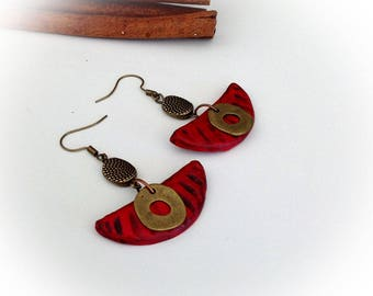 Earrings, red, copper, polymer clay, half moon, ethnic.