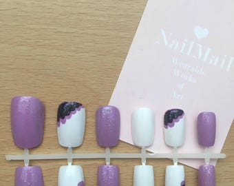 Purple Frill Hand Painted Nail Set