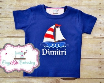 Sailboat summer shirt boy girl kid toddler baby infant appliqué embroidery personalized custom monogram name