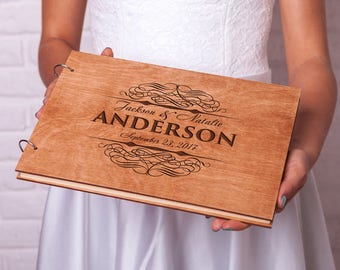Custom Guest book Rustic Wedding guestbook Unique guest book Wedding guest book ideas Monogram guest book Personalized Wooden guestbook