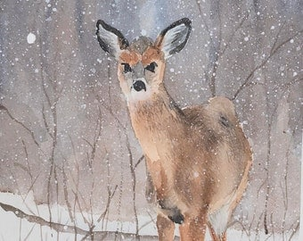 Original Watercolor Painting of Deer in Snow