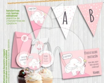 Baby elephant Printable Kit with Editable Texts! Baby shower, its a girl! INSTANT DOWNLOAD!!