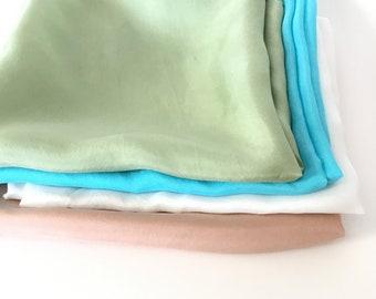 "Play Silks - Earth Tone Set (21""x 21"") waldorf play silk, rainbow silk, large playsilk"