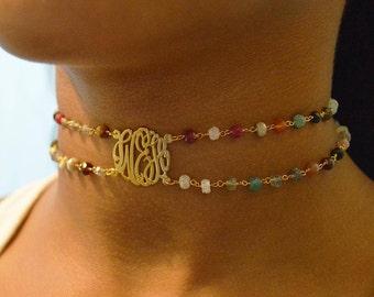Choker necklace monogram,Gemstone chain choker,Ruby, moonstone, chalcedony, sapphire,Black onyx gemstone monogram choker.