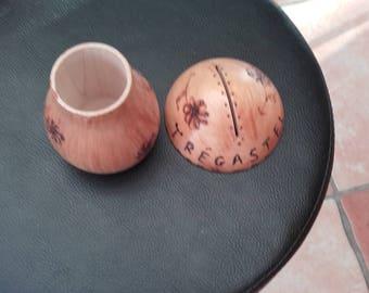 """trégastel"" mushroom shaped wooden money box"