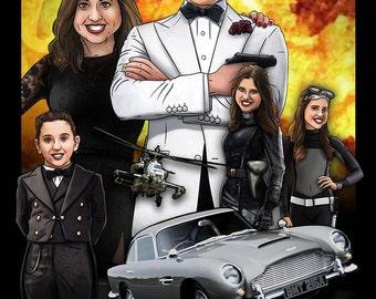 Custom James Bond Portrait / 007 / Agents / Family / Bespoke Illustration / Spectre / Golden Gun  / Spy