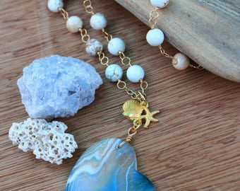 OOAK - Sunken Treasure Necklace - Gold Mermaid Necklace - Heart Agate Pendant - Ocean Love - Coastal Jewelry - Statement Necklace - Beach