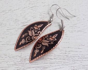 Copper Earrings, Black Copper Earrings, Lightweight Earrings, Black Dangle Earrings, Copper Long Earrings, Black Earrings Gift For Her C2-09