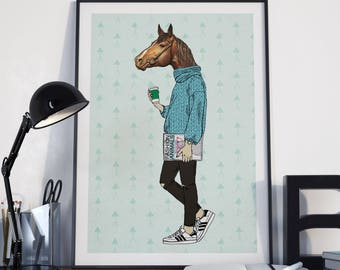 Poster | Illustrated Poster | Wall Decor | Hipster Print Poster | Animal Poster | Horse Poster | Home Decor | Poster Design | Postcard