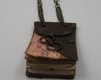 Leather book necklace,distressed,antique look