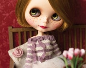 Blythe sweater, white and lavender stripes