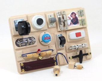 Travel busy board Sensory activity wood toy Baby busy board toddler Fine motor board Special needs Board with locks Fidget board Wood Red