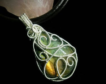 Green and gold labradorite necklace silver wire wrapped on leather cord