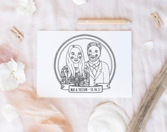 Custom colouring wedding portrait / wedding colouring page / personalised wedding gift / children's wedding activity / kids wedding favor