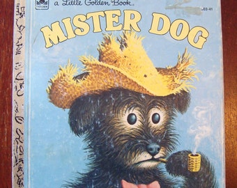 Rare Collector Error Little Golden Book - Mister Dog - #303-41, 1952/1980 F - Cover Picture is Cut Short