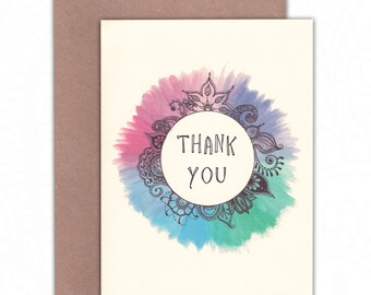 Pastel coloured girly henna illustrated Thank You greetings card -> eco friendly & ethical <- perfect for yoga lovers + hippy souls