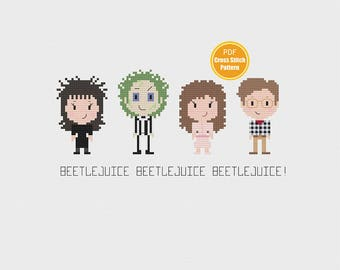Beetlejuice Cross stitch Pattern - PDF Instant Download - Halloween Cross stitch - 80s