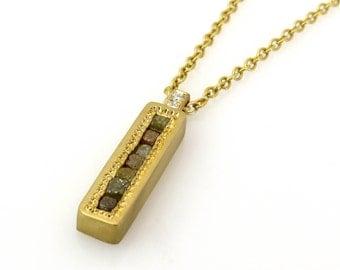 Raw diamond necklace, Unique gold pendant, Diamond pendant necklace, Bar diamond necklace, Diamond bar necklace, 18k gold diamond necklace