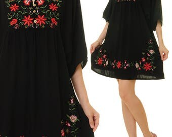 Mexican Embroidered Dress | Embroidery Dress | Black Mexican Dress | Boho Tunic Dress | Oaxaca Dress | Embroidered Tunic Top 8114 8116 8117