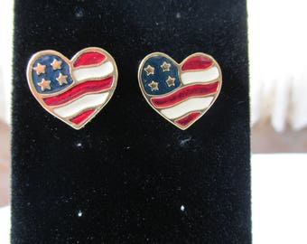 American Flag Heart Earrings made by Avon