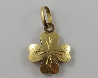 Four Leaf Clover 18K Gold Vintage Charm For Bracelet