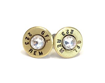 AR 15 Brass Ammo Bullet Stud Earrings with Swarovski Crystals, Women's earrings, Bullet jewelry, Valentine gifts