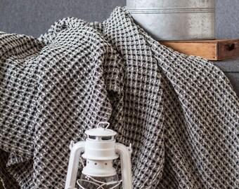 Natural linen throw, Black cotton blanket, Linen bed cover, Summer blanket, Beach blanket