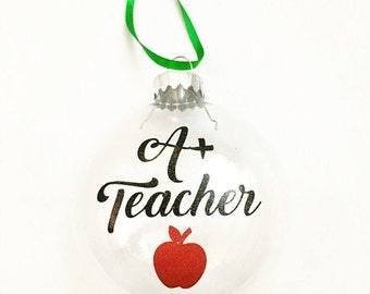 Ornament for Teacher - Glass Christmas Ornament - Teacher Gift Ideas - Teacher Ornament - Christmas Ornament - Teacher Holiday Gift - Gifts