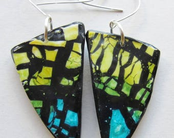 Blue and green polymer clay earrings (#0048)