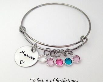 Memaw Gift, Memaw Bracelet, Gift for Memaw, Memaw Gifts, Mothers Day Gift for Grandma, Adjustable Bangle Bracelet, Mothers Day Gift Grandma