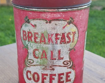 Coffee Tin,  Breakfast Call, Coffee Tin, 1 lb., Pantry,  SAGE Tin,  Coffee Tin, Collector's, Coffee Tin, Vintage Tin,, Antique Tin, Old Tin
