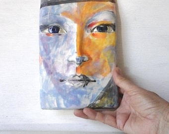 3D female face, pottery wall art, colorful abstract art, gallery wall decor, orange and purple painting of Esther from Louise Fulton Studio