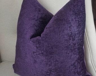 Purple Chenille Pillow Cover, Decorative Purple Throw Pillow, Chenille Cushion Cover, Purple Cushion, Housewares Decor, Pillow Decor 0076