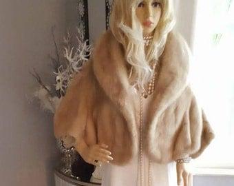 Luxury Vintage Mink Fur Stole - Mink Cape - Fur Shrug - Mink Shawl - Fur Bolero - Mink Wrap  - Bridal Jacket Coat  Luxurious Bridal Fur