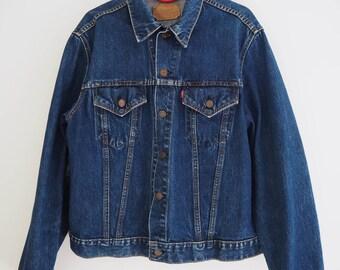 1960s Levi's Levi Strauss & Co. Big E Type III Denim Indigo Jean Trucker Jacket / Rare Collectable Authentic Vintage Denim / XL Extra Large