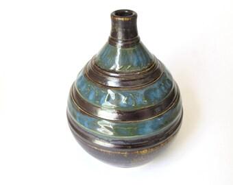 Ceramic Bud Vase, Pottery Bud Vase, Blue Brown Vase, Blue Brown Bottle, Ceramic Pottery Bottle, Wheel Thrown Pottery, Wheel Thrown Vase