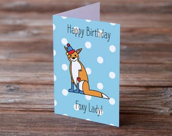 happy birthday card PRINTABLE, foxy lady foxy mom, 40th birthday card for daughter, 50th birthday card for woman, 60th birthday card mom