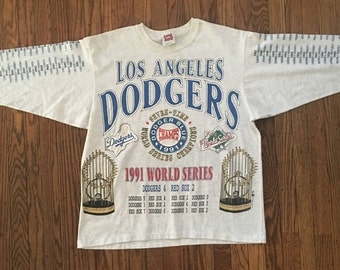 Vintage 90s Los Angeles Dodgers All Over Print Graphic Tshirt - Large * Made In USA