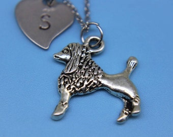 Dog Poodle Necklace Silver Dog Poodle  Charm Necklace  Personalized Necklace Initial Charm Animal Charm Customized Jewelry Dog Charm