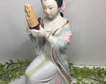 Vintage Geisha Porcelain Figurine Chinese Asian Art