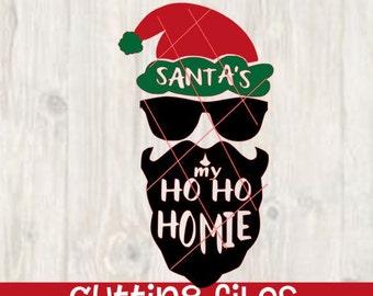 Santa's Ho Ho Homie homeboy svg - Digital Download - Santa Face svg - Christmas Cut File - santa beard - vector file - santa cutting file