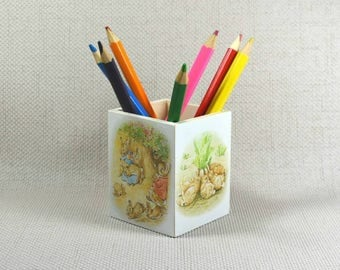 Flopsy Bunny Pencil Pot, Peter Rabbit Decor, Nursery Pencil Pot, Peter Rabbit Nursery, Desk Storage, Peter Rabbit theme, Free Gift Wrapping!