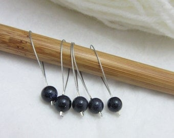 Blue Goldstone Stitch Markers, Pack of 5, Sparkly, Yarn, Wool, Knitting Project, Knit Markers, Fits Most Needles, Notions, Handmade Markers