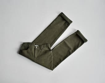 olive green jeans / 30 waist / vintage 90s high waist straight leg jeans