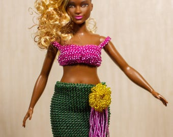 Barbie clothes Barbie crochet Barbie beads Handmade fantasy Mermaid Curvy Barbie Fashionistas gown babrie fantasy dress