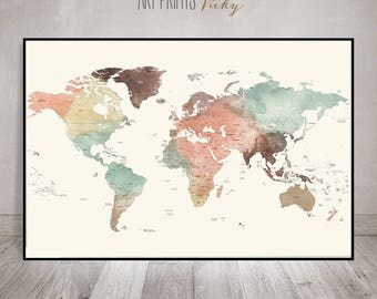 large world map poster, Detailed world map print, travel map pastel, world map with countries names & borders, office decor, ArtPrintsVicky.